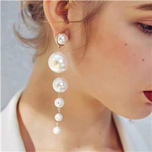 Fashion Alloy Pearl Tassel Earrings