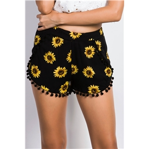 Summer Floral Print Trimmed Shorts