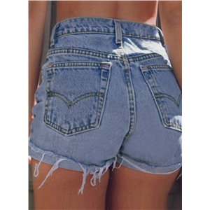 Summer High Waist Retro Wash Wide Leg Rolled-Up Denim Shorts