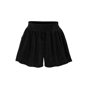 Elastic Waist Wide-leg Solid Shorts