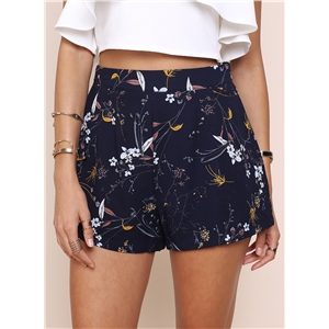 Fashion Floral Print Loose Fit Shorts