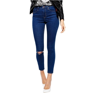 Fashion Ripped Ankle Length Slim Fit Denim Pants
