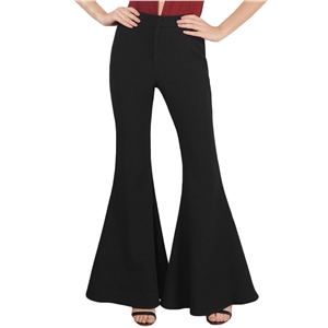 Fashion Solid High Waist Bell-Bottom Pants