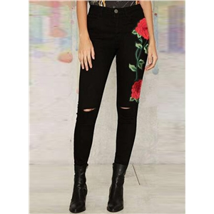 Ripped Red Rose Embroidery Skinny Denim Pants