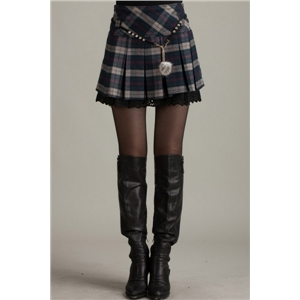 Plaid Pleated High Waist Skirt