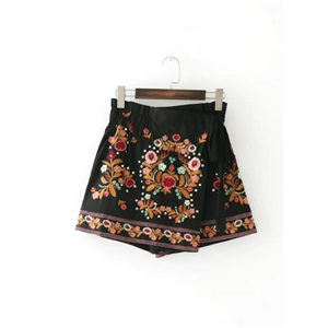 Floral Embroidery Rivet Detail Skirt