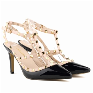 Studded Matte Surface Contrast Stilettos