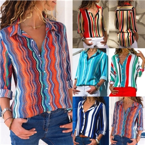Spring and summer multicolor printed shirt