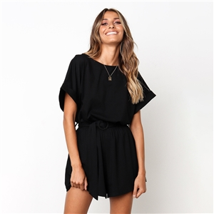 Spring and summer round neck short sleeve casual tie jumpsuit
