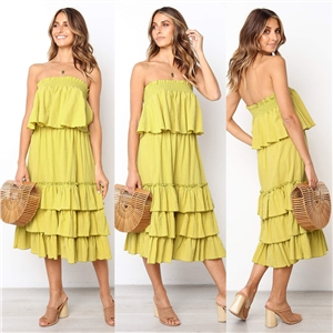Three-color tube top blouse loose cake dress dress two-piece