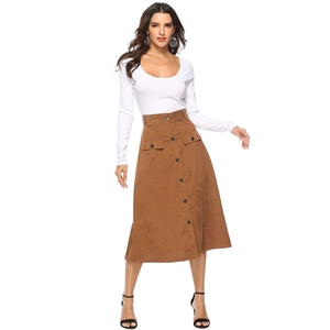 Button pocket A word big skirt skirt