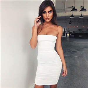 Black and white word collar tube top sexy dress