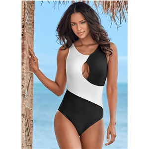 Bikini black and white stitching swimsuit