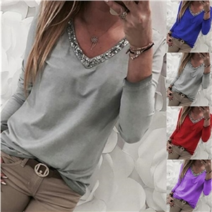 Solid color stitching V-neck sequins long-sleeved T-shirt women's clothing