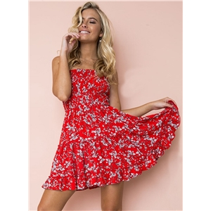 Fashion Sexy Casual Floral Printed Chest Wrapped Women Flounce Mini Dress