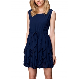 Ruffled Sleeveless Chiffon Dress