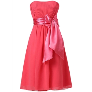 Strapless Cocktail Party Bridesmaid Dress with Bowknot