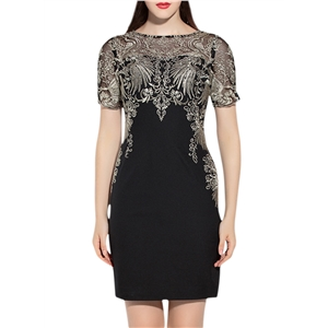 Mesh Embroidered Patchwork Party Cocktail Bodycon Dress