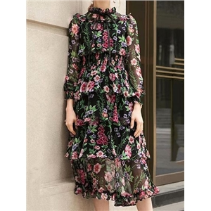 Polychrome Chiffon Floral Print Ruffle Trim Long Sleeve Midi Dress