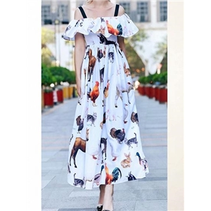 Polychrome Animal Print Ruffle Trim Women Cami Maxi Dress