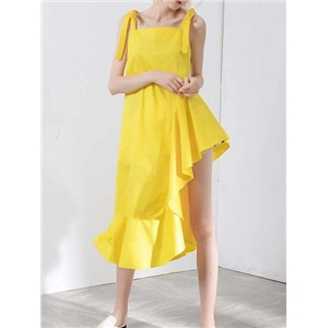 Yellow Asymmetric Hem Ruffle Trim Women Cami Midi Dress