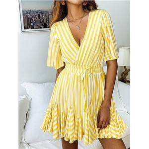 Yellow Stripe Cotton V-neck Ruffle Hem Flare Sleeve Mini Dress