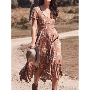 Khaki Cotton V-neck Floral Print Ruffle Sleeve Bohemian Midi Dress