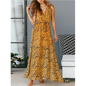 Yellow V-neck Floral Print Sleeveless Women Maxi Dress