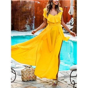 Yellow V-neck Tie Waist Ruffle Trim Sleeveless Women Maxi Dress