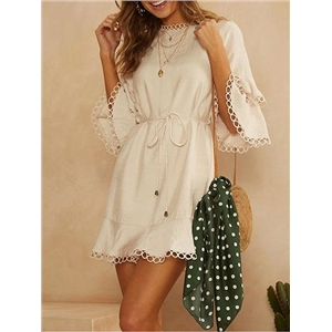 White Tie Waist Layered Ruffle Sleeve Women Mini Dress