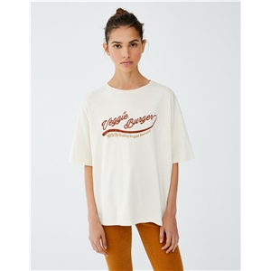 Round neck sleeve printed with long loose t-shirt