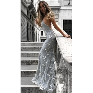 Sexy V-neck sling sequin dress dress