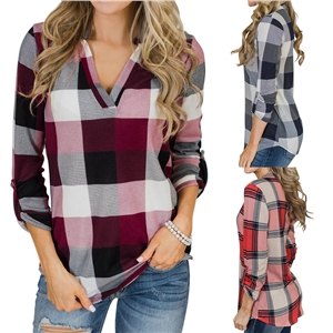 V-neck plaid printed casual blouse