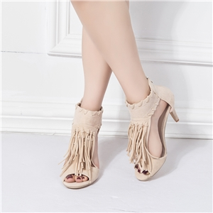 Fringed women's high heel sandals