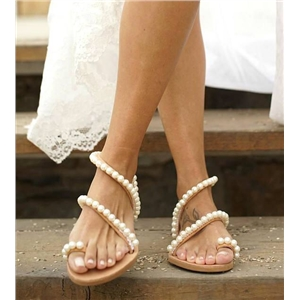 Beach open toe flat pearl sandals women's shoes