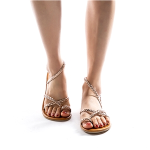 Woven beach open toe flat sandals women's shoes