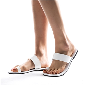 Black and white beach open toe flat sandals women's shoes