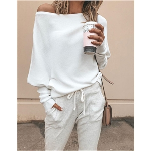 Autumn and winter sexy strapless bat sleeve long sleeve thread t-shirt top