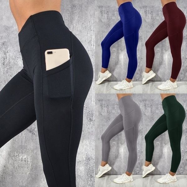 2019 New Fashion Women Leggings Slim Fit Yoga Running Pants With Pocket Gym Fitness Leggings Workout Pants Victoriaswing
