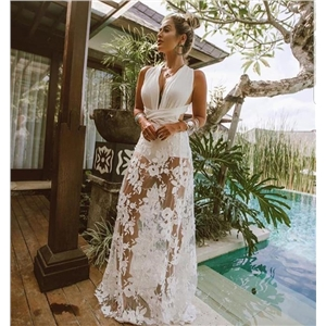 White sexy lace embroidered openwork beach skirt dress