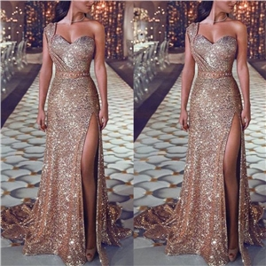 Sexy one-shoulder sleeveless hot gold dress slit dress
