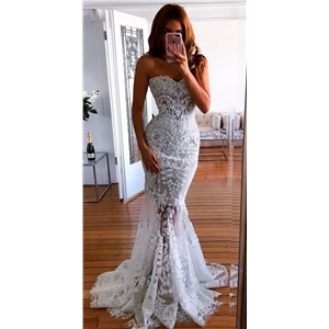 White sleeveless tube top lace evening dress dress