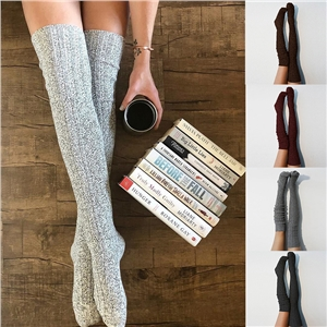 Warm women's long knit stacker female crochet long socks thigh high heel
