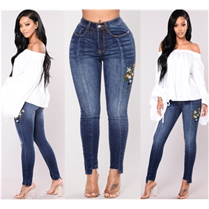Color denim stretch hole embroidered high waist jeans trousers female