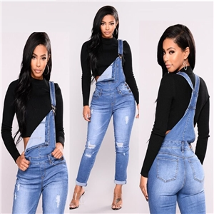 Shredded fashion elastic one-piece denim strap trousers women