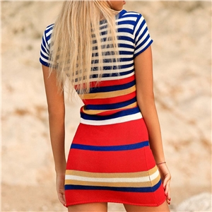 Summer color striped short-sleeved beach knit dress