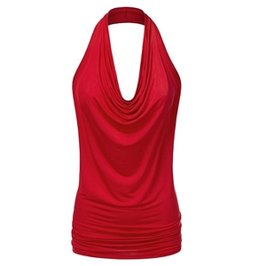 Chiffon loose sleeveless hanging neck sexy vest T-shirt female