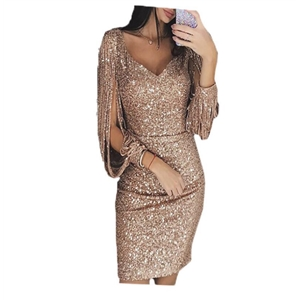 V-neck dress European and American sexy open sleeve slim slimming dress