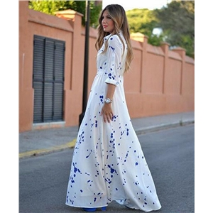 Fashion blue dot print bouquet waist long sleeve shirt single-breasted dress dress