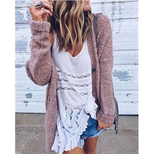 Fashion wild loose cardigan long-sleeved fluffy coat